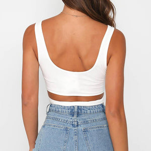 Chic Boutique Clothing Tops Button Bandage Crop Tank