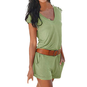 Chic Boutique Clothing Jumpsuits & Rompers Green / S / China Holiday Strap Mini Playsuit 25646883-green-s-china