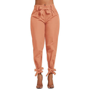 Chic Boutique Clothing Pants color 3 / S / China Casual Solid High Waist Belt Trousers 25925108-color-3-s-china