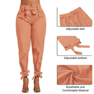 Chic Boutique Clothing Pants Casual Solid High Waist Belt Trousers