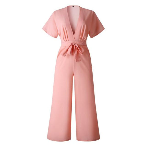 Chic Boutique Clothing Jumpsuits & Rompers Pink / S / China V Neck Casual Playsuit Overalls 26007122-pink-s-china