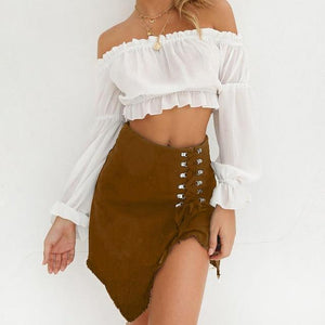 Chic Boutique Clothing skirt Brown / S / China Denim Midi Skirt  Bandage Slit High Waist 26009492-brown-s-china