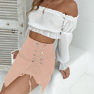 Chic Boutique Clothing skirt Pink / S / China Denim Midi Skirt  Bandage Slit High Waist 26009492-pink-s-china