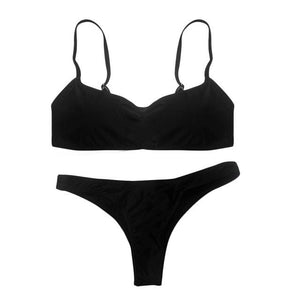 Chic Boutique Clothing Swimwear Black / S / United States Solid Bikini Set Push-up UnPadded Bra 18097582-black-s-united-states