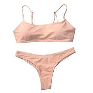 Chic Boutique Clothing Swimwear Pink / S / United States Solid Bikini Set Push-up UnPadded Bra 18097582-pink-s-united-states