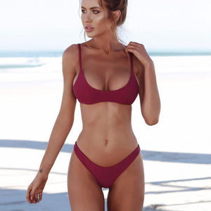 Chic Boutique Clothing Swimwear Solid Bikini Set Push-up UnPadded Bra