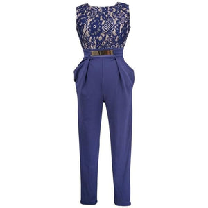 Chic Boutique Clothing Jumpsuits & Rompers Blue / S / China Lace Floral Sleeveless Jumpsuit 26362956-blue-s-china