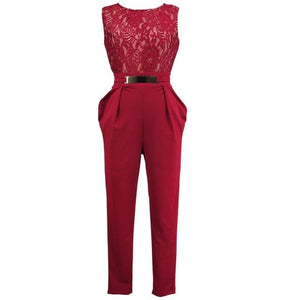 Chic Boutique Clothing Jumpsuits & Rompers Red / S / China Lace Floral Sleeveless Jumpsuit 26362956-red-s-china