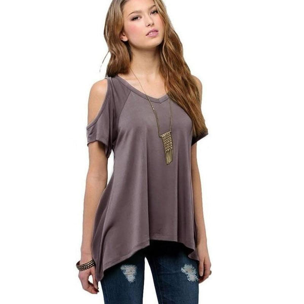 Chic Boutique Clothing Off Shoulder Loose Tee Top