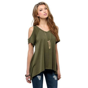 Chic Boutique Clothing G / XXL / United States Off Shoulder Loose Tee Top 26400912-g-xxl-united-states