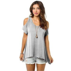 Chic Boutique Clothing H / XXL / United States Off Shoulder Loose Tee Top 26400912-h-xxl-united-states