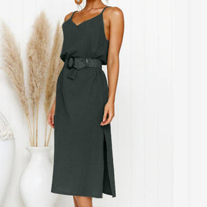 Chic Boutique Clothing Dresses Fashion Women's Summer Button Dress Belt Sundress Sling Dress Solid color  Long section Women Sundress