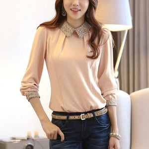 Chic Boutique Clothing Tops Pink / S / United States Women Chiffon slim long-sleeve shirt 26664707-pink-s-united-states