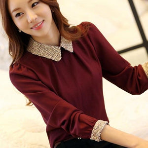 Chic Boutique Clothing Tops Burgundy / S / United States Women Chiffon slim long-sleeve shirt 26664707-burgundy-s-united-states