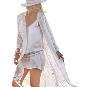 Chic Boutique Clothing cover up Beige / L / China Lace kimono cardigan White Tassels Beach Cover Up 26762434-beige-l-china