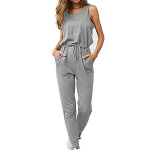 Chic Boutique Clothing Jumpsuits & Rompers Gray / L / China Super Comfy Sleeveless Jumpsuit 25904434-gray-l-china