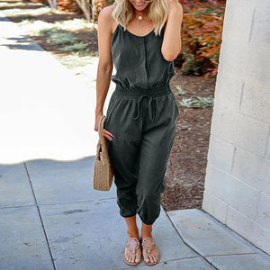 Chic Boutique Clothing Jumpsuits & Rompers O-Neck Sleeveless Off Shoulder Jumpsuit