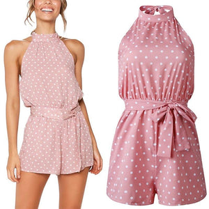 Chic Boutique Clothing Jumpsuits & Rompers Polka Dot Belted Jumpsuit