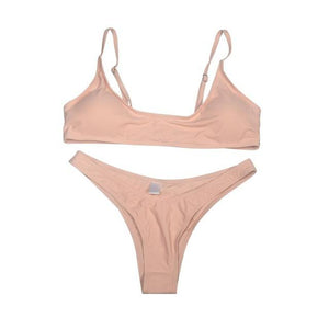Chic Boutique Clothing Swimwear pink 2 / S / United States Solid Bikini Set Push-up UnPadded Bra 18097582-pink-2-s-united-states