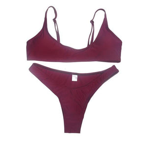 Chic Boutique Clothing Swimwear wine red 2 / S / United States Solid Bikini Set Push-up UnPadded Bra 18097582-wine-red-2-s-united-states