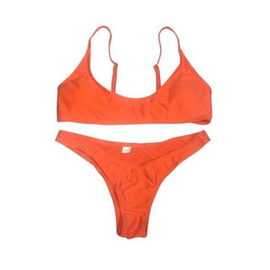 Chic Boutique Clothing Swimwear Orange / S / United States Solid Bikini Set Push-up UnPadded Bra 18097582-orange-s-united-states