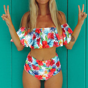 Chic Boutique Clothing Floral Ruffled Bikini Set Women Flora V-neck High-waisted Two Piece Swimsuit 2019Girl Beach Bathing Suit Swimwear Biquinis W3052