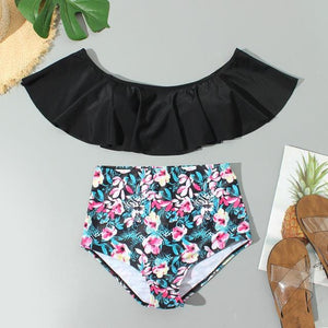 Chic Boutique Clothing 1 / L / China Floral Ruffled Bikini Set Women Flora V-neck High-waisted Two Piece Swimsuit 2019Girl Beach Bathing Suit Swimwear Biquinis W3052 27315382-1-l-china