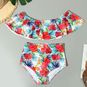 Chic Boutique Clothing 6 / L / China Floral Ruffled Bikini Set Women Flora V-neck High-waisted Two Piece Swimsuit 2019Girl Beach Bathing Suit Swimwear Biquinis W3052 27315382-6-l-china
