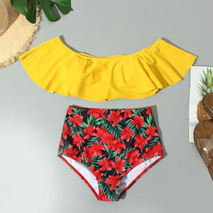 Chic Boutique Clothing 7 / L / China Floral Ruffled Bikini Set Women Flora V-neck High-waisted Two Piece Swimsuit 2019Girl Beach Bathing Suit Swimwear Biquinis W3052 27315382-7-l-china