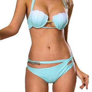 Chic Boutique Clothing lingerie LB / L / United States Bra Panty Halter Belt Set Women Light Blue Wire Free 27320790-lb-l-united-states