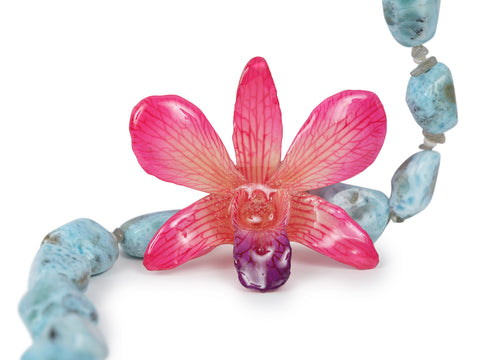 Larimar and Real Orchid Necklace