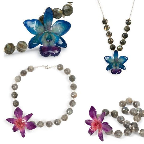 Labradorite and real orchid necklaces
