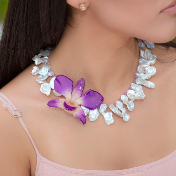 Abstract Pearl and Real Orchid Statement Necklace | Handmade Jewelry | Pearl Necklace - Devi & Co