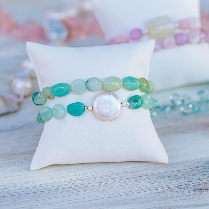 Amazonite and Pearl Stretch Bracelet Set - Devi & Co