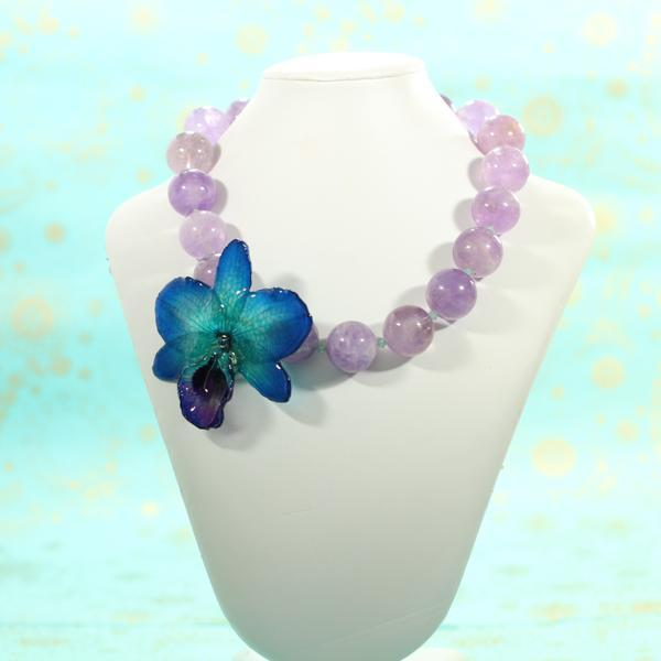Amethyst and Blue Orchid Statement Necklace | Handmade Jewelry | Real Orchid - Devi & Co