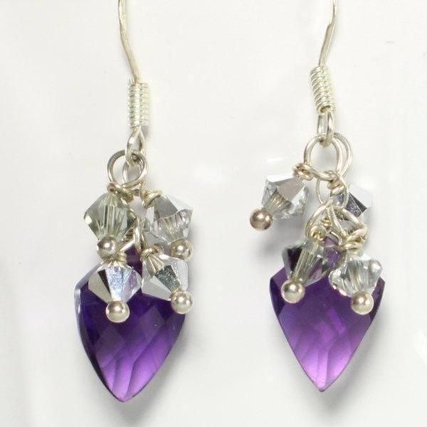 Amethyst and Swarovski Crystal Gemstone Earrings - Devi & Co