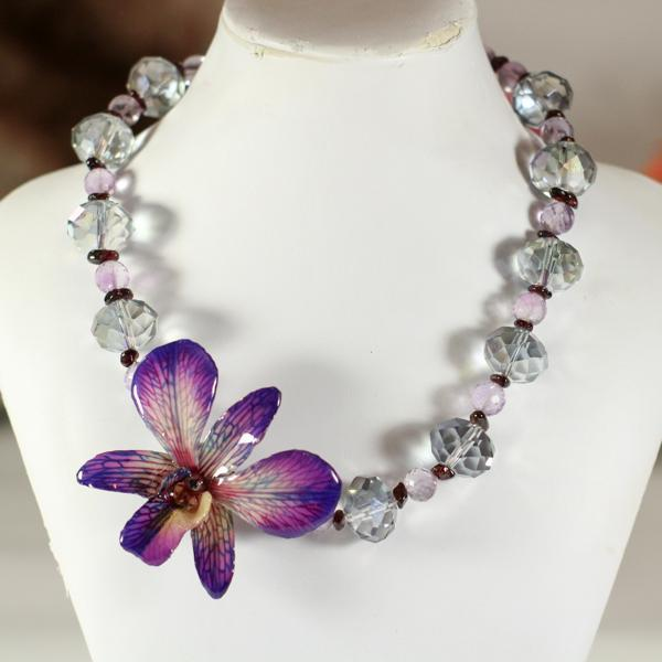 Amethyst Garnet and Crystal Real Orchid Statement Necklace | Preserved Orchid | Handmade - Devi & Co