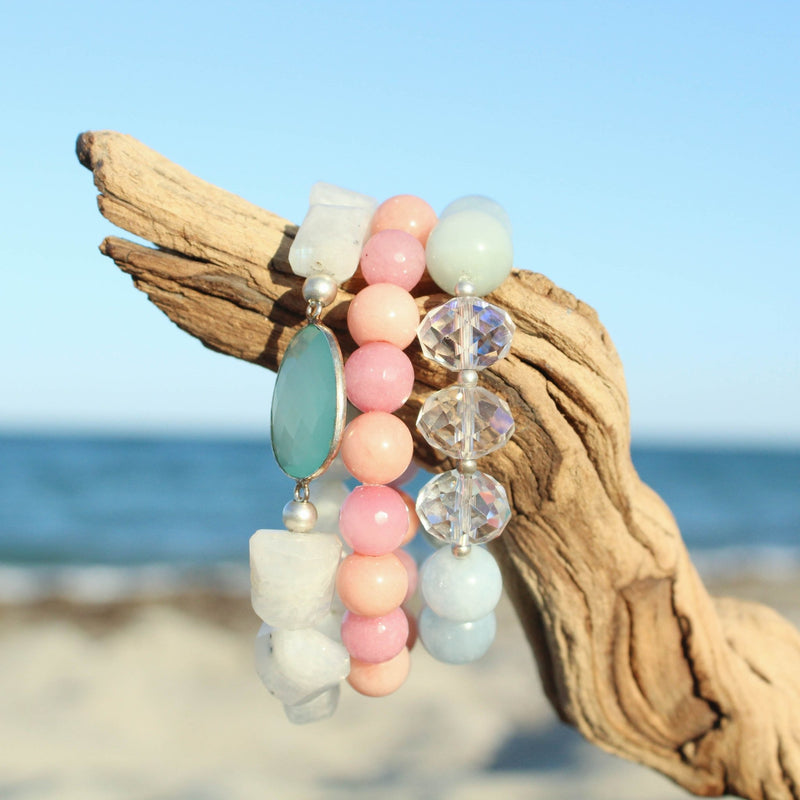 Aqua Chalcedony and Rainbow Moonstone Stretch Bracelet - Devi & Co