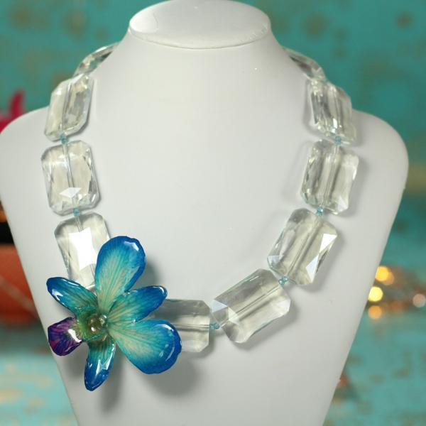 Blue Orchid and Crystal Statement Necklace | Preserved Orchid | Handmade - Devi & Co