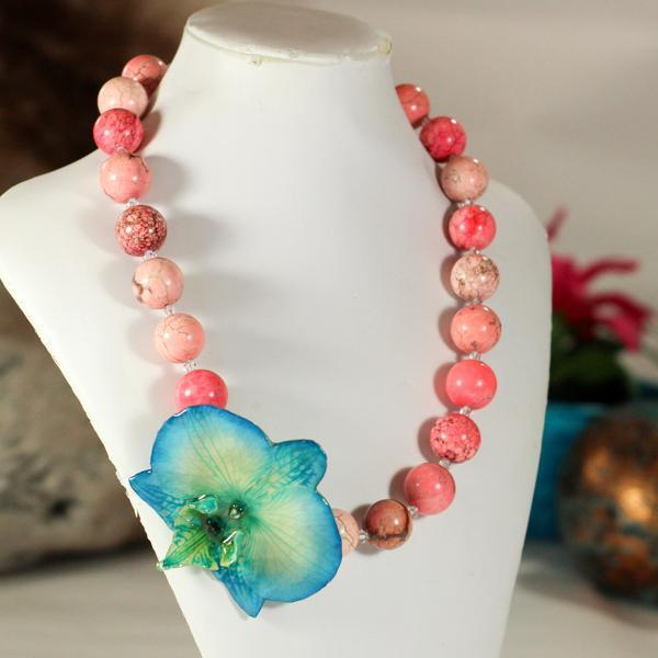 Blue Orchid and Pink Turquoise Statement Necklace | Preserved Orchid | Handmade - Devi & Co