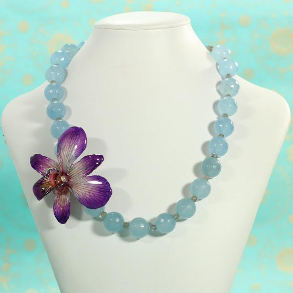 Chalcedony and Real Orchid Statement Necklace | Handmade | Preserved Orchid - Devi & Co