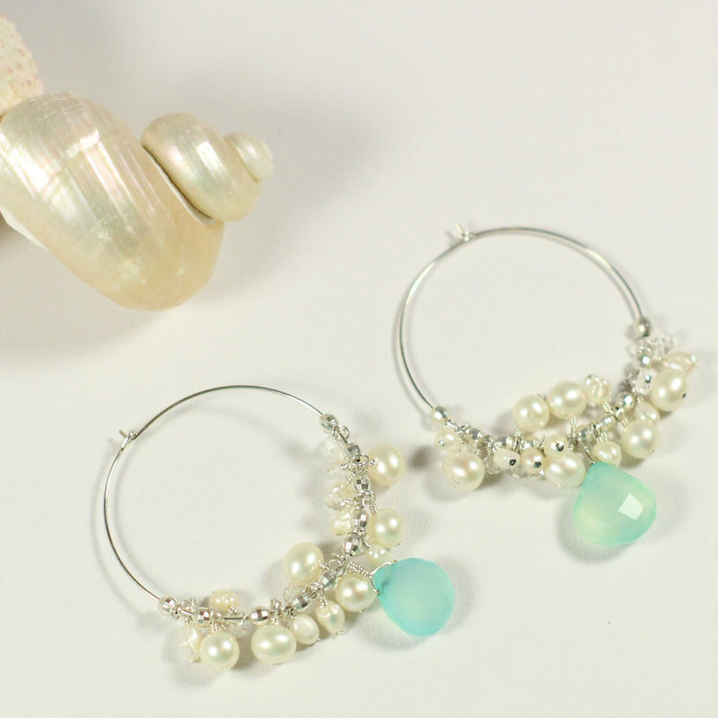 Chalcedony Cluster Hoop Earrings - Devi & Co