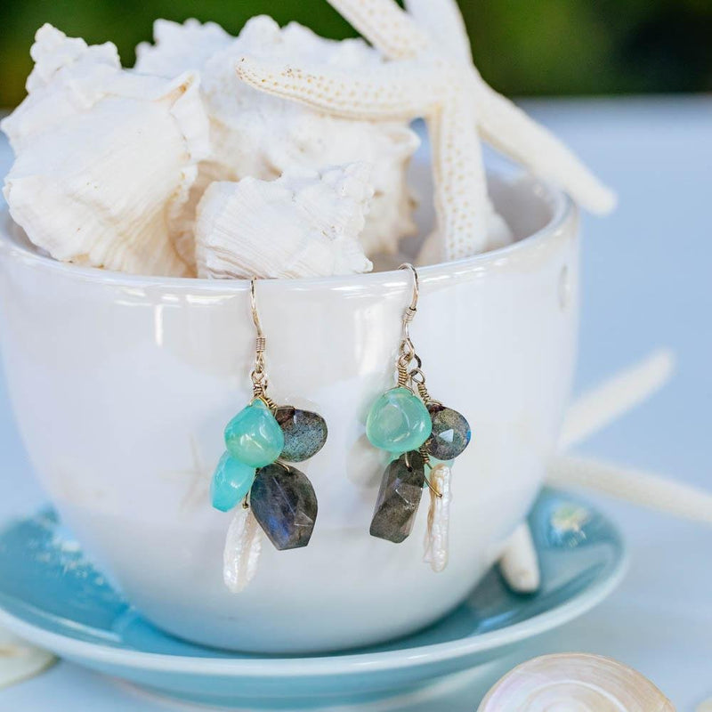 Chalcedony, Labradorite, and Pearl Cluster Earrings - Devi & Co