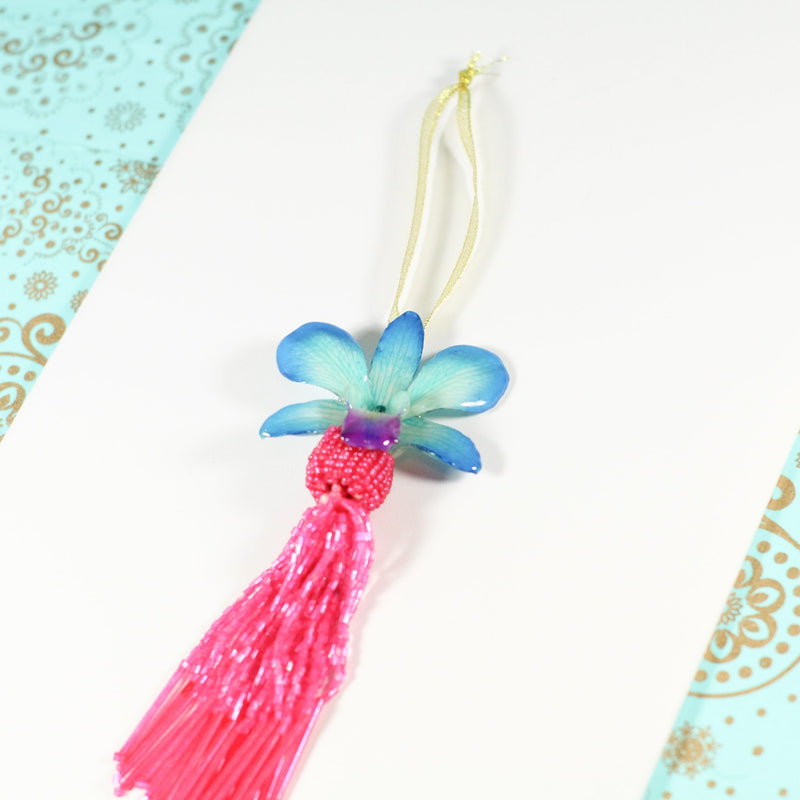 Cream and Pink Tassel Real Orchid Beaded Christmas Ornament - Devi & Co