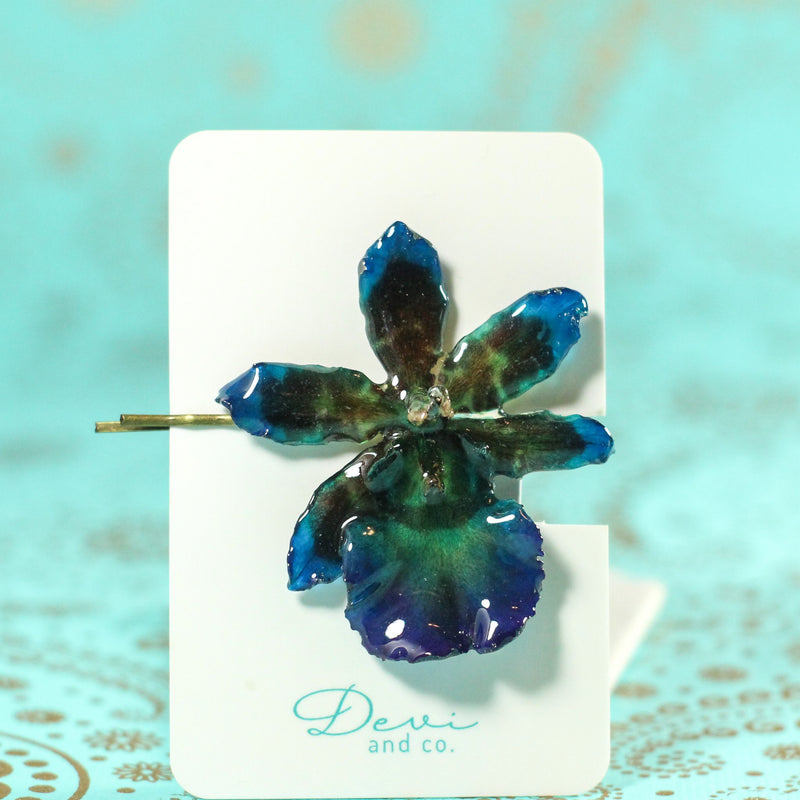 Dark Blue Tiger Cattleya Real Orchid Hair Pin - Devi & Co