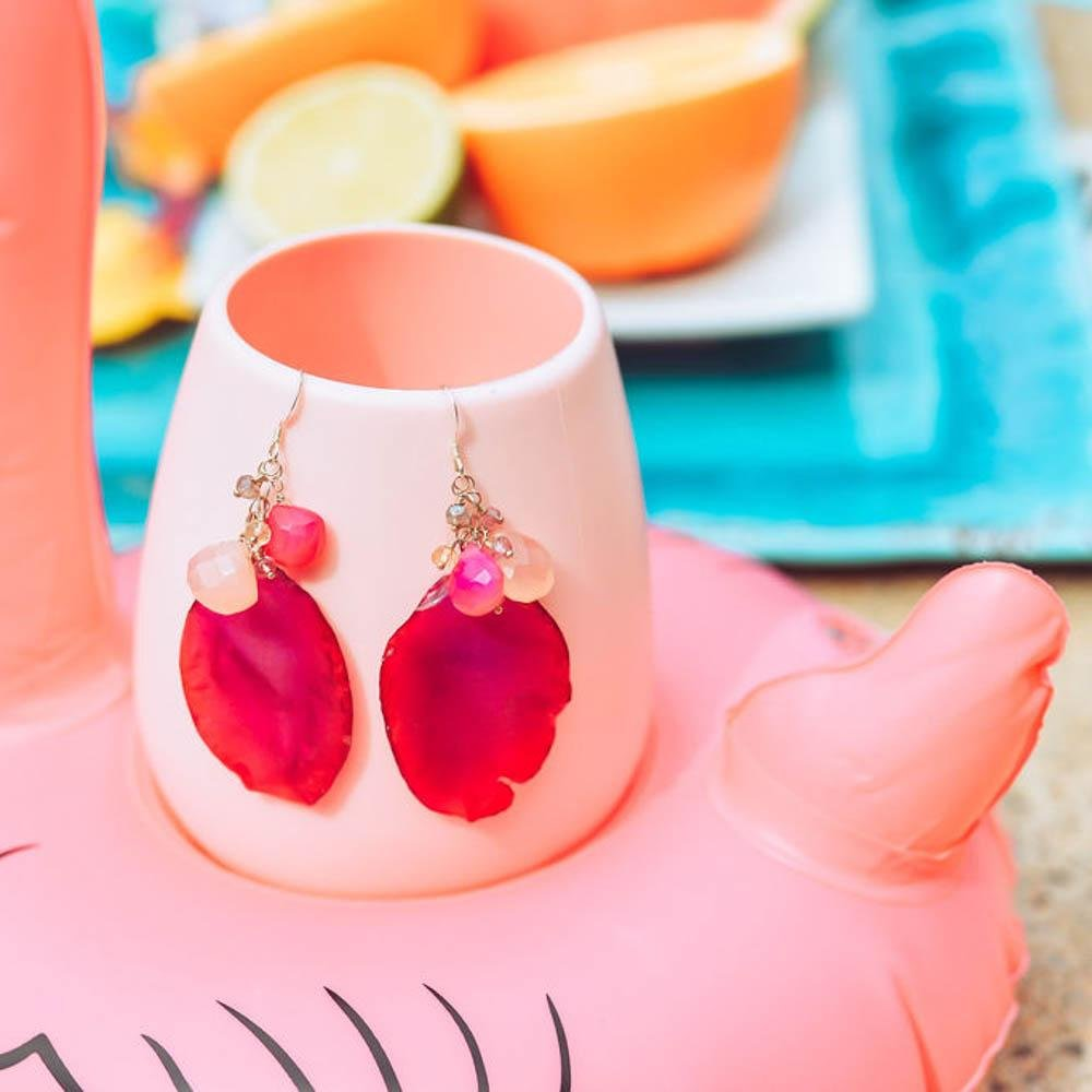 Deep Pink Orchid Petal and Gemstone Earrings - Devi & Co