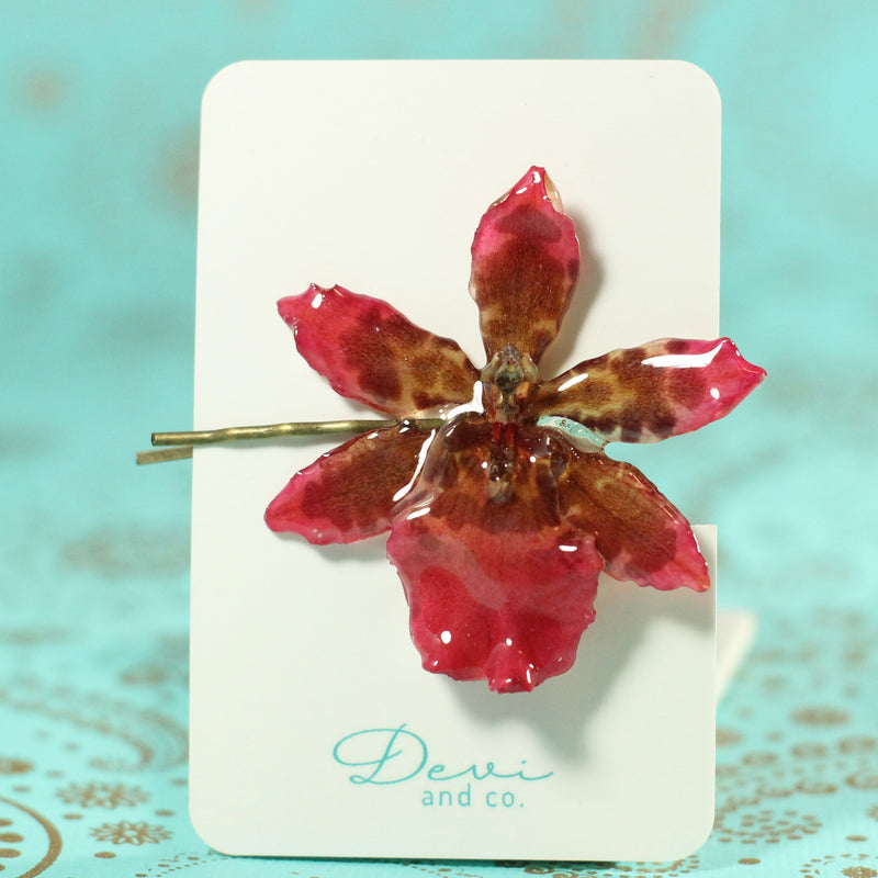 Deep Red Tiger Cattleya Real Orchid Hair Pin - Devi & Co