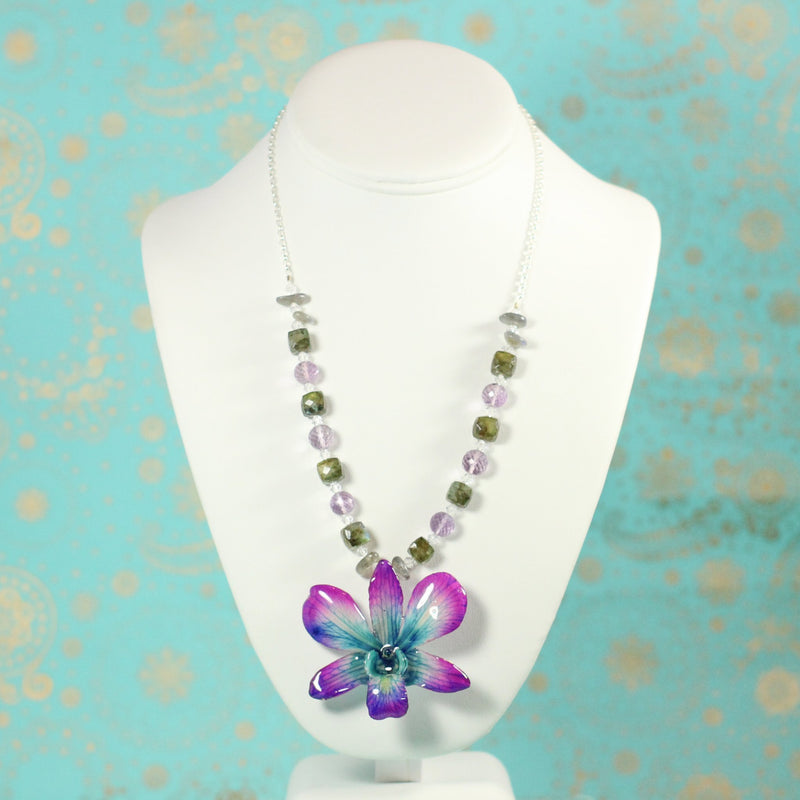 Everyday Amethyst, Labradorite, Sterling Real Orchid Necklace - Devi & Co