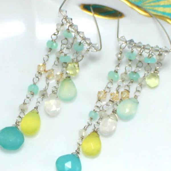Gemstone Chandelier Drop Earrings | Handmade | Fine Jewelry - Devi & Co