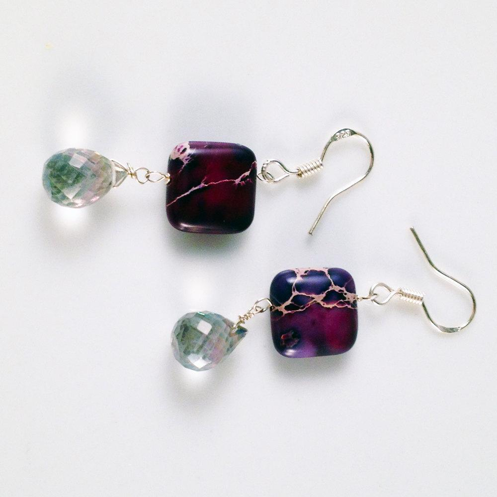 Jasper and Quartz Drop Earrings | Handmade | Gemstone Jewelry - Devi & Co